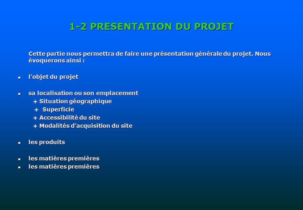1-2 PRESENTATION DU PROJET Cette partie nous permettra de faire une présentation générale du projet. Nous évoquerons ainsi : lobjet du projet lobjet d