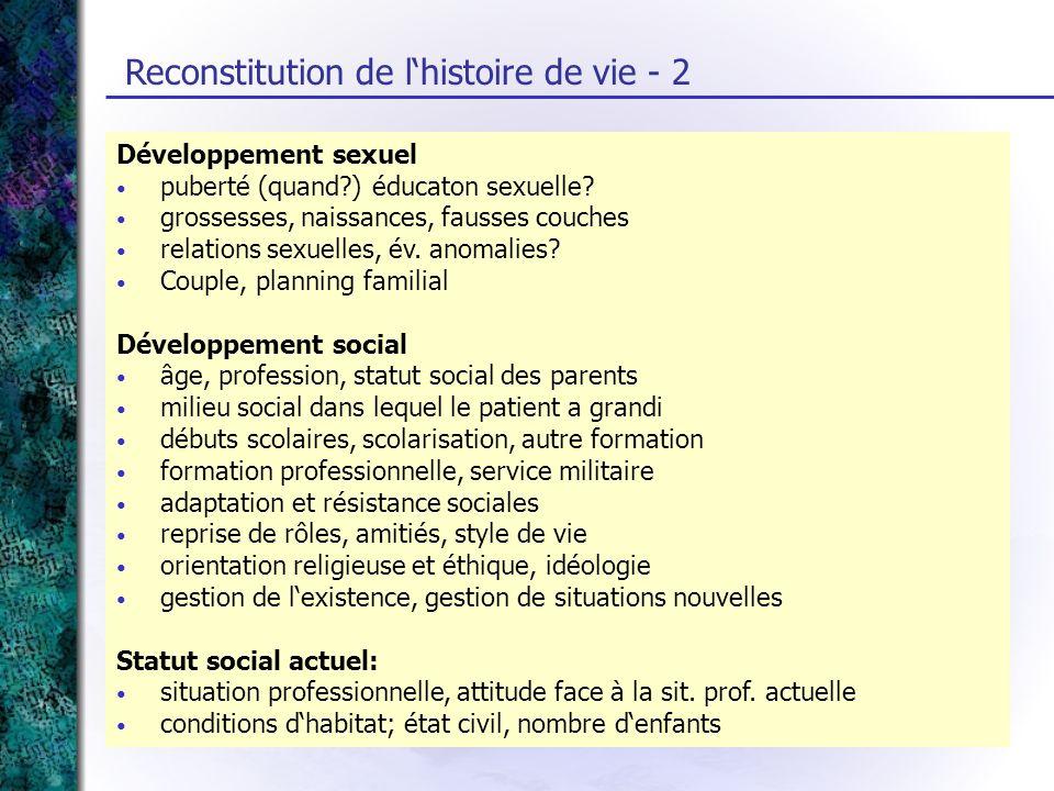 Reconstitution de lhistoire de vie - 2 Développement sexuel puberté (quand?) éducaton sexuelle? grossesses, naissances, fausses couches relations sexu