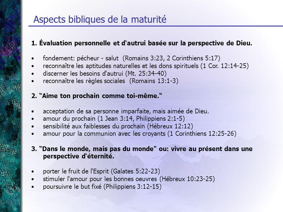 Aspects bibliques de la maturité 1. Évaluation personnelle et dautrui basée sur la perspective de Dieu. fondement: pécheur - salut (Romains 3:23, 2 Co