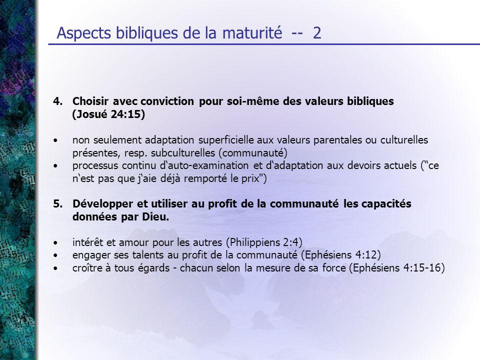 4. Choisir avec conviction pour soi-même des valeurs bibliques (Josué 24:15) non seulement adaptation superficielle aux valeurs parentales ou culturel