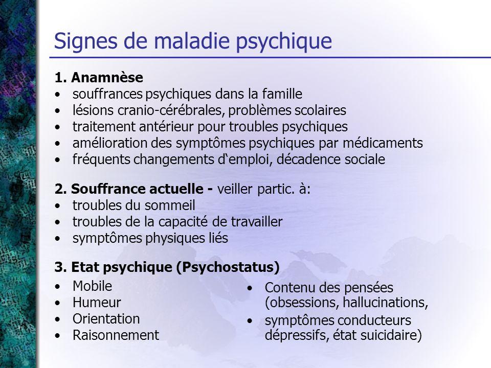 Signes de maladie psychique 1. Anamnèse souffrances psychiques dans la famille lésions cranio-cérébrales, problèmes scolaires traitement antérieur pou
