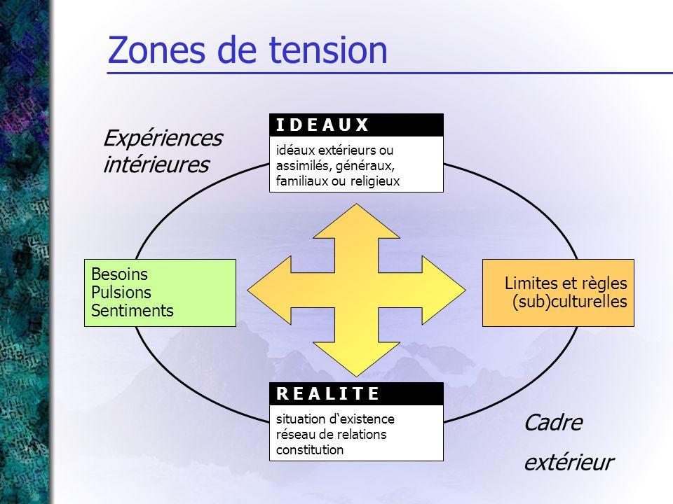 Besoins Pulsions Sentiments idéaux extérieurs ou assimilés, généraux, familiaux ou religieux I D E A U X situation dexistence réseau de relations cons