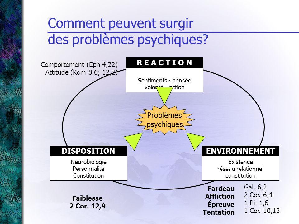 Sentiments - pensée volonté - action R E A C T I O N Comment peuvent surgir des problèmes psychiques? Existence réseau relationnel constitution ENVIRO