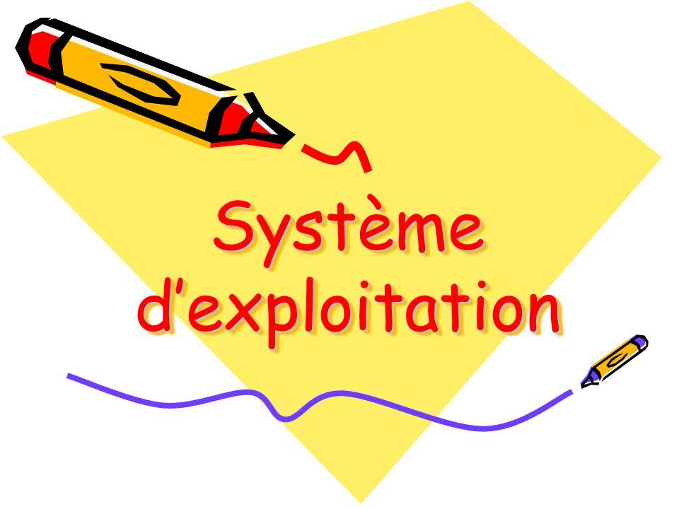 Un système dexploitation offre à lutilisateur un ensemble de Commandes et de boites de dialogue pour pouvoir communiquer avec la machine.