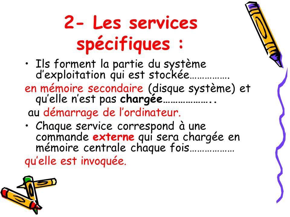 2- Les services spécifiques : Ils forment la partie du système dexploitation qui est stockée……………. en mémoire secondaire (disque système) et quelle ne