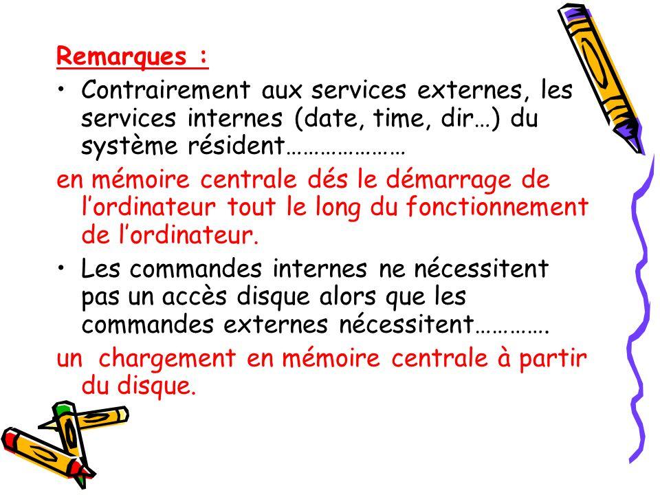 Remarques : Contrairement aux services externes, les services internes (date, time, dir…) du système résident………………… en mémoire centrale dés le démarr