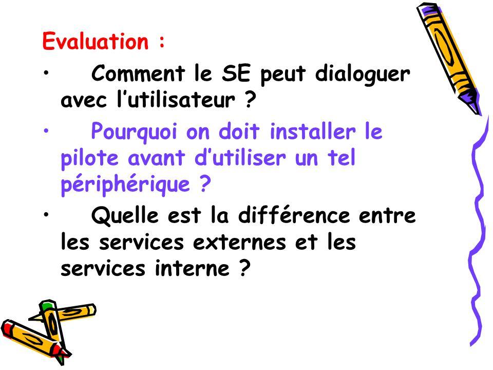 Evaluation : Comment le SE peut dialoguer avec lutilisateur ? Pourquoi on doit installer le pilote avant dutiliser un tel périphérique ? Quelle est la