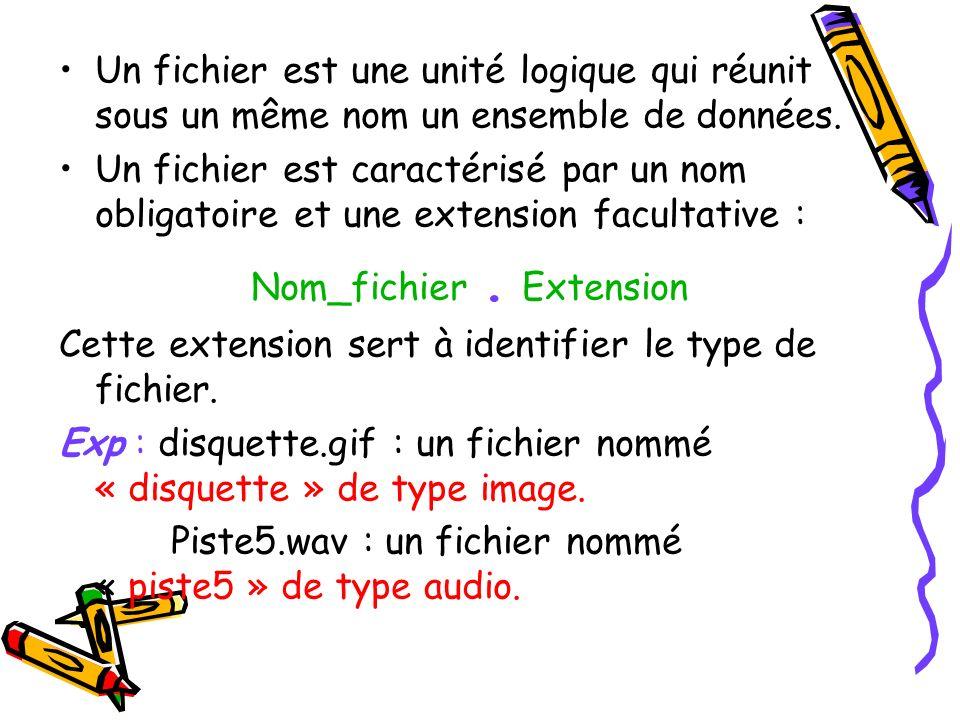Un fichier est une unité logique qui réunit sous un même nom un ensemble de données. Un fichier est caractérisé par un nom obligatoire et une extensio