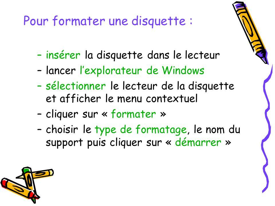 Pour formater une disquette : –insérer la disquette dans le lecteur –lancer lexplorateur de Windows –sélectionner le lecteur de la disquette et affich