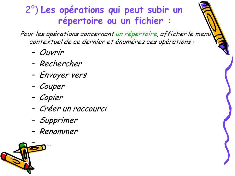 2°) Les opérations qui peut subir un répertoire ou un fichier : Pour les opérations concernant un répertoire, afficher le menu contextuel de ce dernie