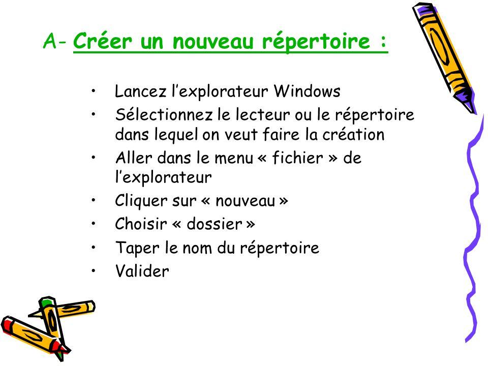 A- Créer un nouveau répertoire : Lancez lexplorateur Windows Sélectionnez le lecteur ou le répertoire dans lequel on veut faire la création Aller dans