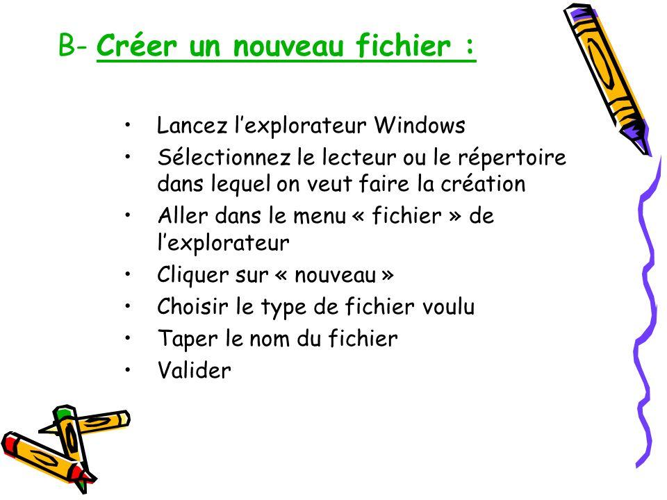 B- Créer un nouveau fichier : Lancez lexplorateur Windows Sélectionnez le lecteur ou le répertoire dans lequel on veut faire la création Aller dans le
