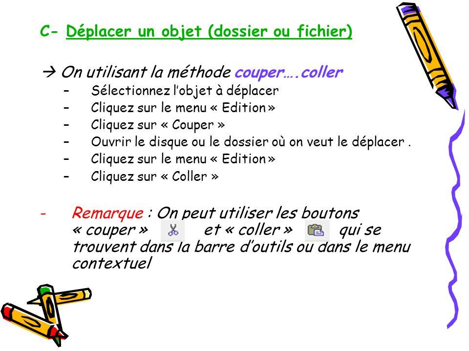 C- Déplacer un objet (dossier ou fichier) On utilisant la méthode couper….coller –Sélectionnez lobjet à déplacer –Cliquez sur le menu « Edition » –Cli