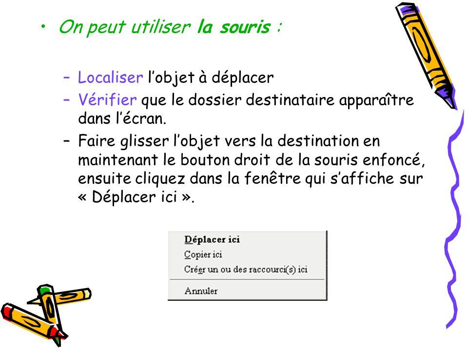 On peut utiliser la souris : –Localiser lobjet à déplacer –Vérifier que le dossier destinataire apparaître dans lécran. –Faire glisser lobjet vers la