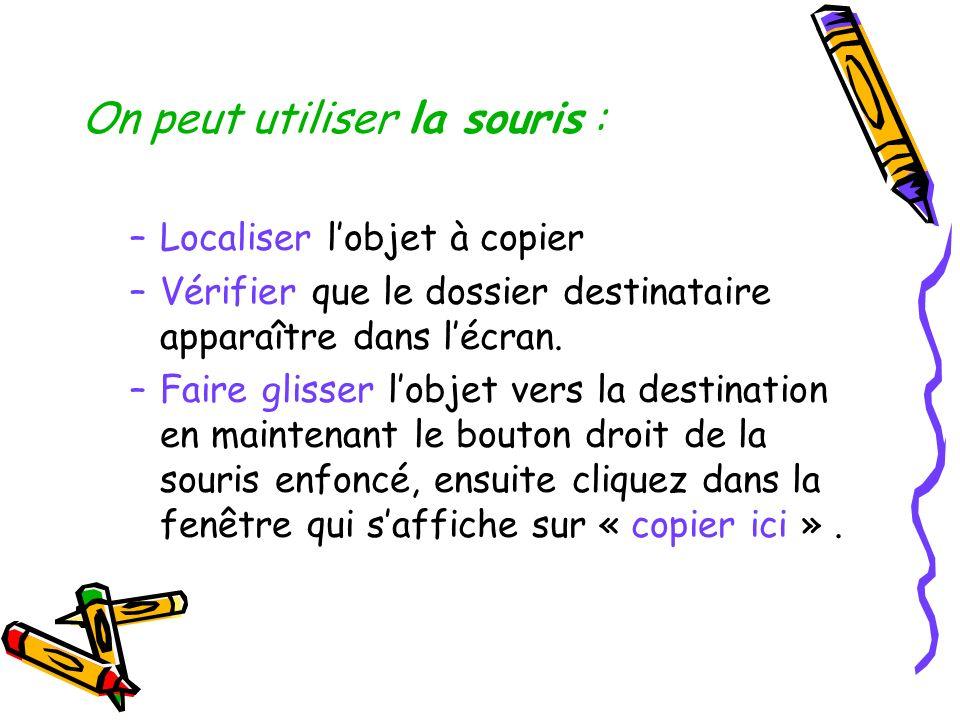 On peut utiliser la souris : –Localiser lobjet à copier –Vérifier que le dossier destinataire apparaître dans lécran. –Faire glisser lobjet vers la de