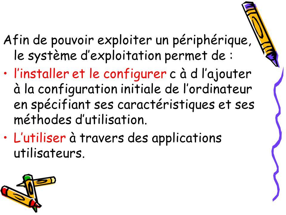 Afin de pouvoir exploiter un périphérique, le système dexploitation permet de : linstaller et le configurer c à d lajouter à la configuration initiale