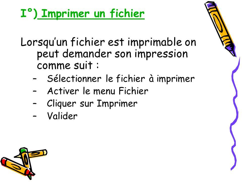 I°) Imprimer un fichier Lorsquun fichier est imprimable on peut demander son impression comme suit : –Sélectionner le fichier à imprimer –Activer le m