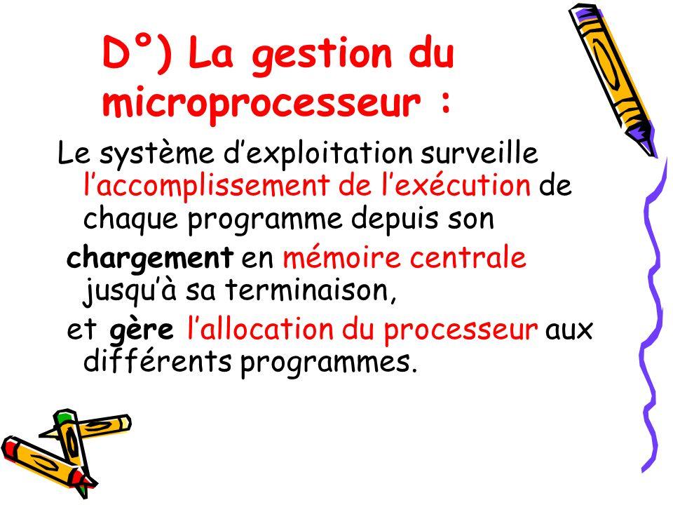 D°) La gestion du microprocesseur : Le système dexploitation surveille laccomplissement de lexécution de chaque programme depuis son chargement en mém