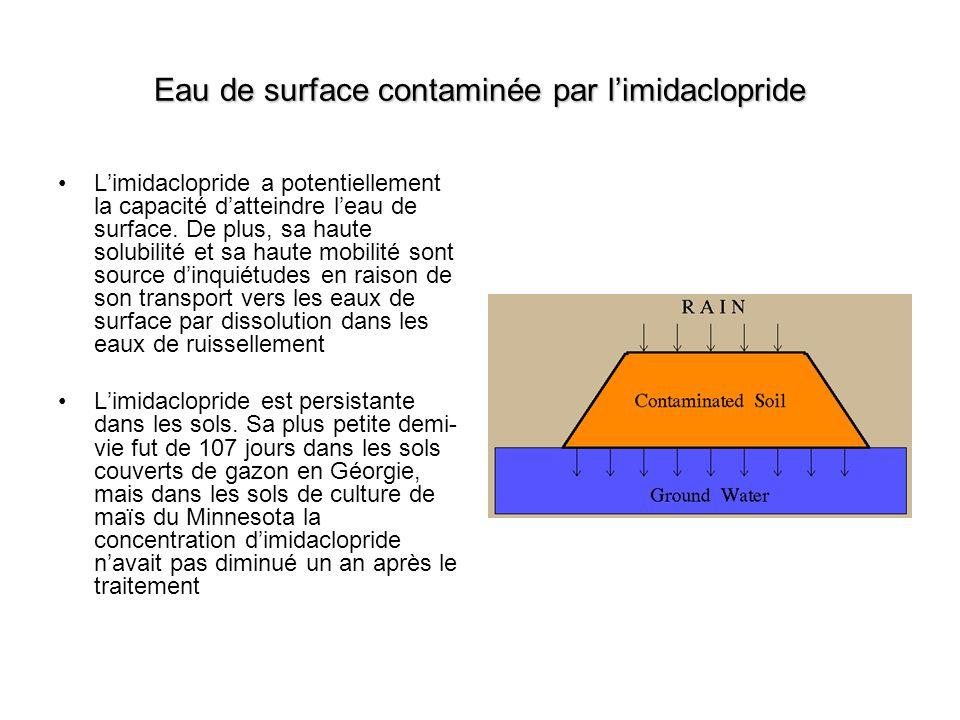 Eau de surface contaminée par limidaclopride Limidaclopride a potentiellement la capacité datteindre leau de surface. De plus, sa haute solubilité et