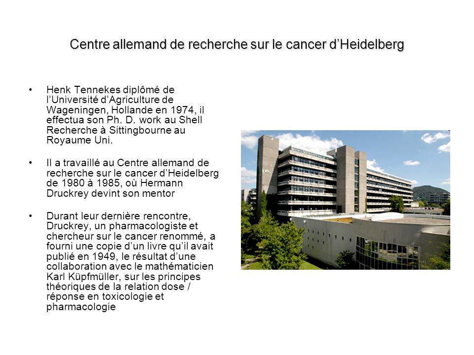 Centre allemand de recherche sur le cancer dHeidelberg Henk Tennekes diplômé de lUniversité dAgriculture de Wageningen, Hollande en 1974, il effectua