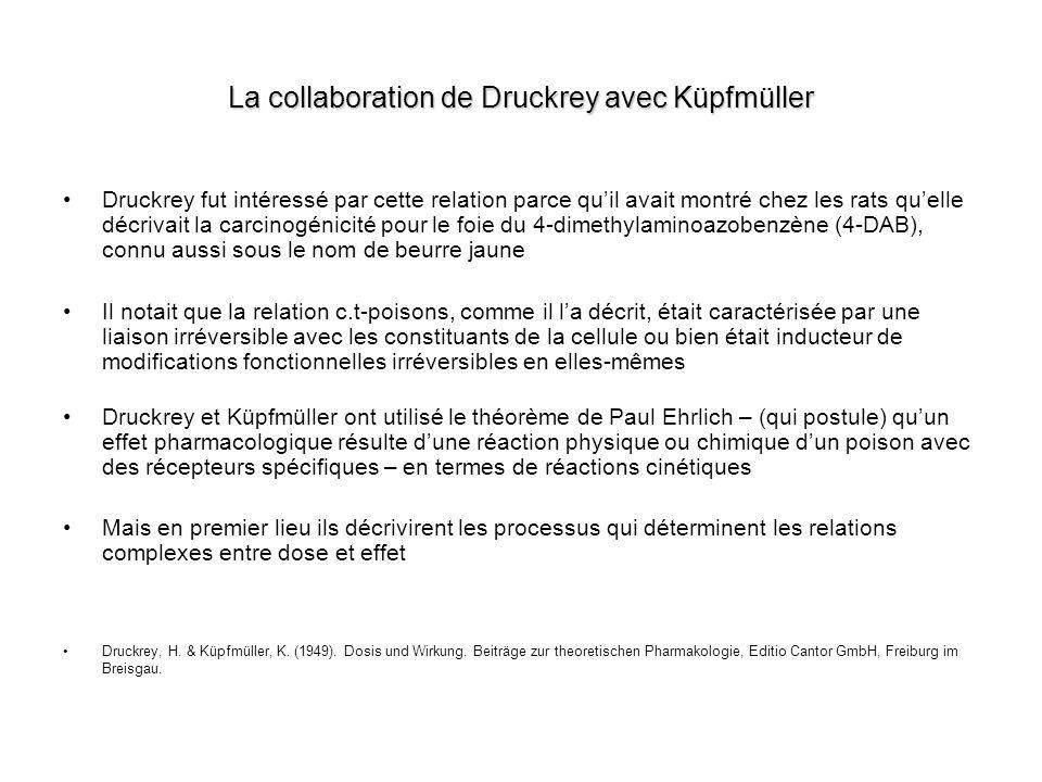 La collaboration de Druckrey avec Küpfmüller Druckrey fut intéressé par cette relation parce quil avait montré chez les rats quelle décrivait la carci