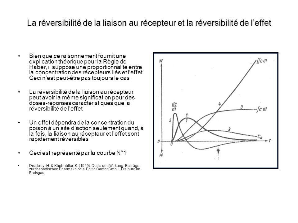 Leffet renforcé par la durée dexposition Si la liaison au récepteur est irréversible leffet sera déterminé par lintégrale de la concentration du produit au site daction au fil du temps Ceci est représenté par la courbe 3 Si à la fois, la liaison au récepteur et leffet sont irréversibles, leffet sera déterminé par la double intégrale de la concentration du produit au fil du temps Ceci est représenté par la courbe 4 Dans ce cas leffet est renforcé par la durée dexposition Druckrey, H.