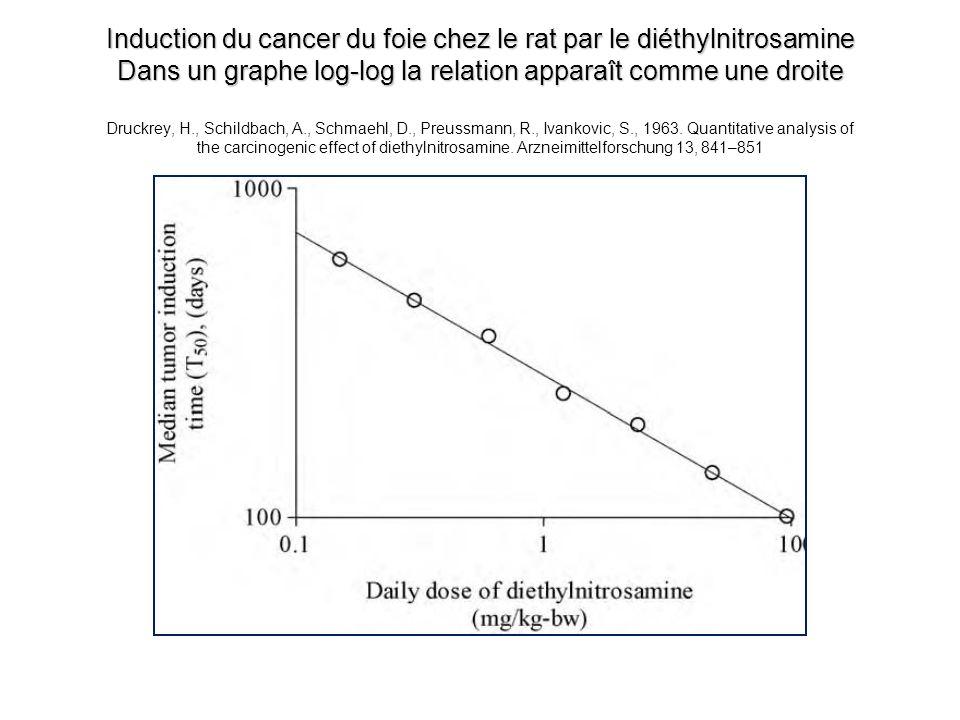 Induction du cancer du foie chez le rat par le diéthylnitrosamine Dans un graphe log-log la relation apparaît comme une droite Induction du cancer du