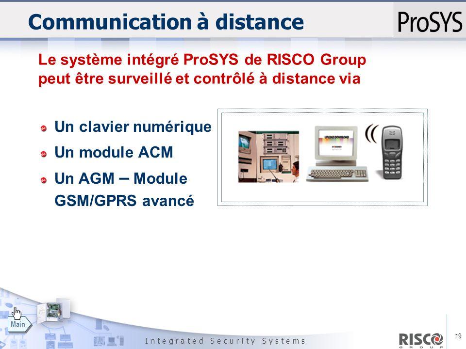 19 I n t e g r a t e d S e c u r i t y S y s t e m s Main Communication à distance Un clavier numérique Un module ACM Un AGM – Module GSM/GPRS avancé