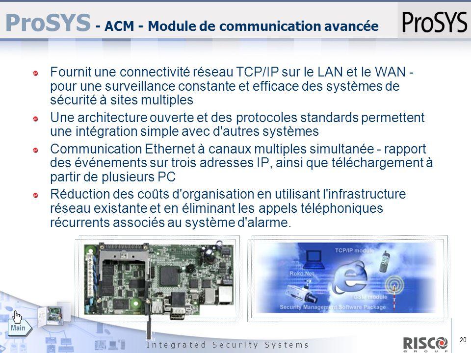 20 I n t e g r a t e d S e c u r i t y S y s t e m s Main ProSYS - ACM - Module de communication avancée Fournit une connectivité réseau TCP/IP sur le