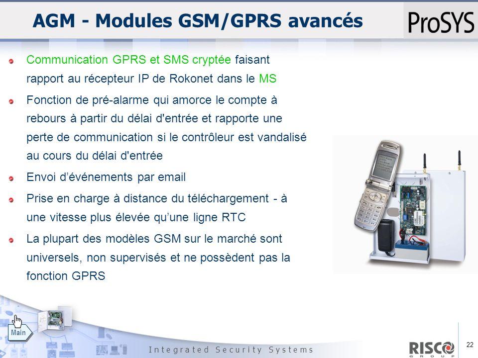 22 I n t e g r a t e d S e c u r i t y S y s t e m s Main AGM - Modules GSM/GPRS avancés Communication GPRS et SMS cryptée faisant rapport au récepteu