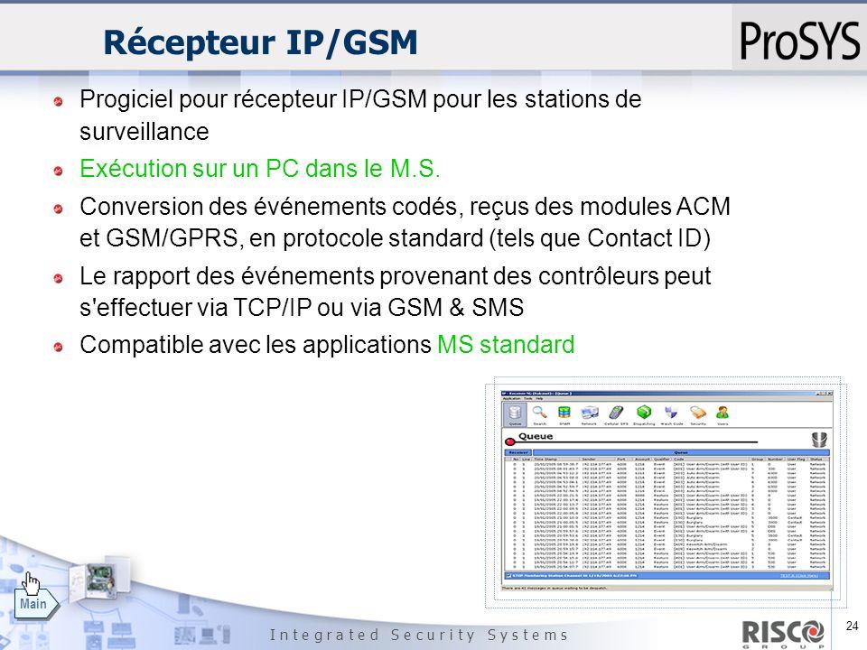 24 I n t e g r a t e d S e c u r i t y S y s t e m s Main Récepteur IP/GSM Progiciel pour récepteur IP/GSM pour les stations de surveillance Exécution