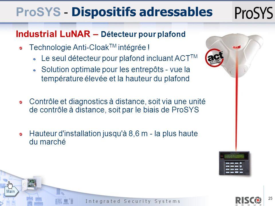 25 I n t e g r a t e d S e c u r i t y S y s t e m s Main Technologie Anti-Cloak TM intégrée ! Le seul détecteur pour plafond incluant ACT TM Solution