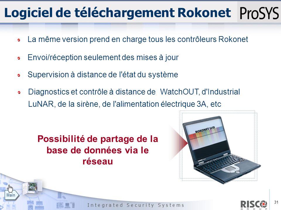 31 I n t e g r a t e d S e c u r i t y S y s t e m s Main Logiciel de téléchargement Rokonet La même version prend en charge tous les contrôleurs Roko