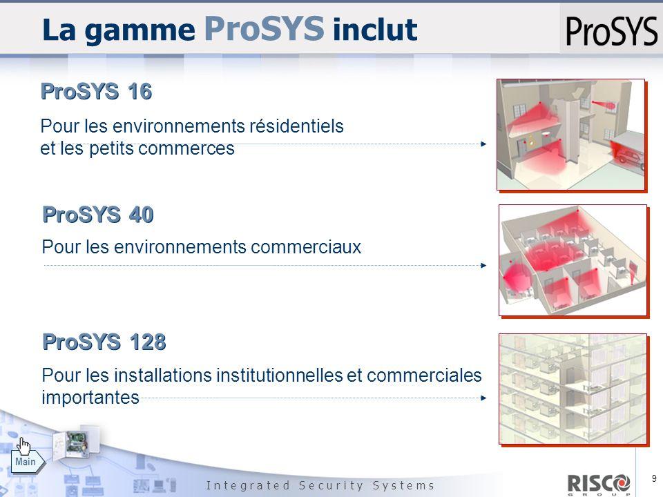 9 I n t e g r a t e d S e c u r i t y S y s t e m s Main La gamme ProSYS inclut ProSYS 16 Pour les environnements résidentiels et les petits commerces