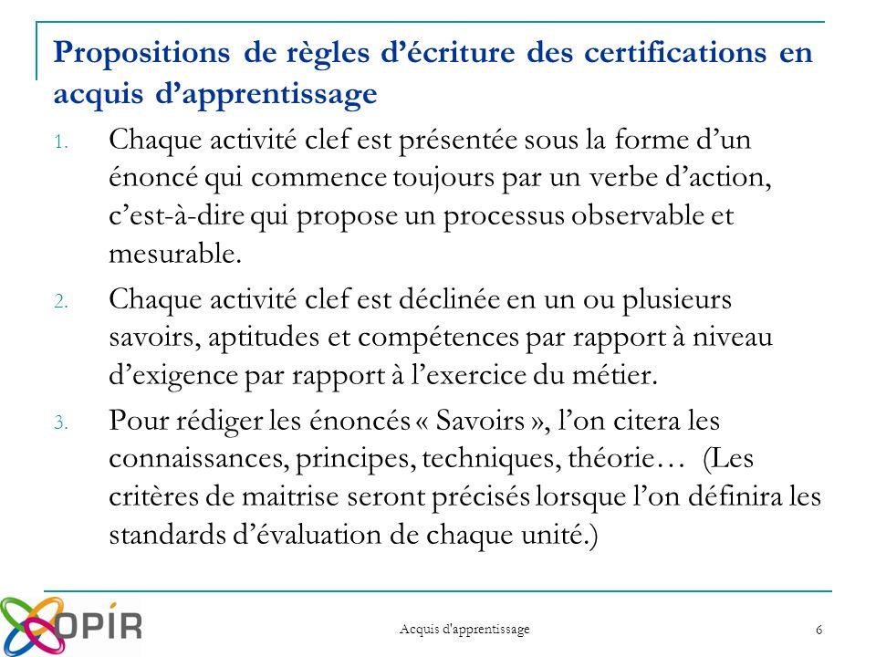 Acquis d apprentissage 6 Propositions de règles décriture des certifications en acquis dapprentissage 1.