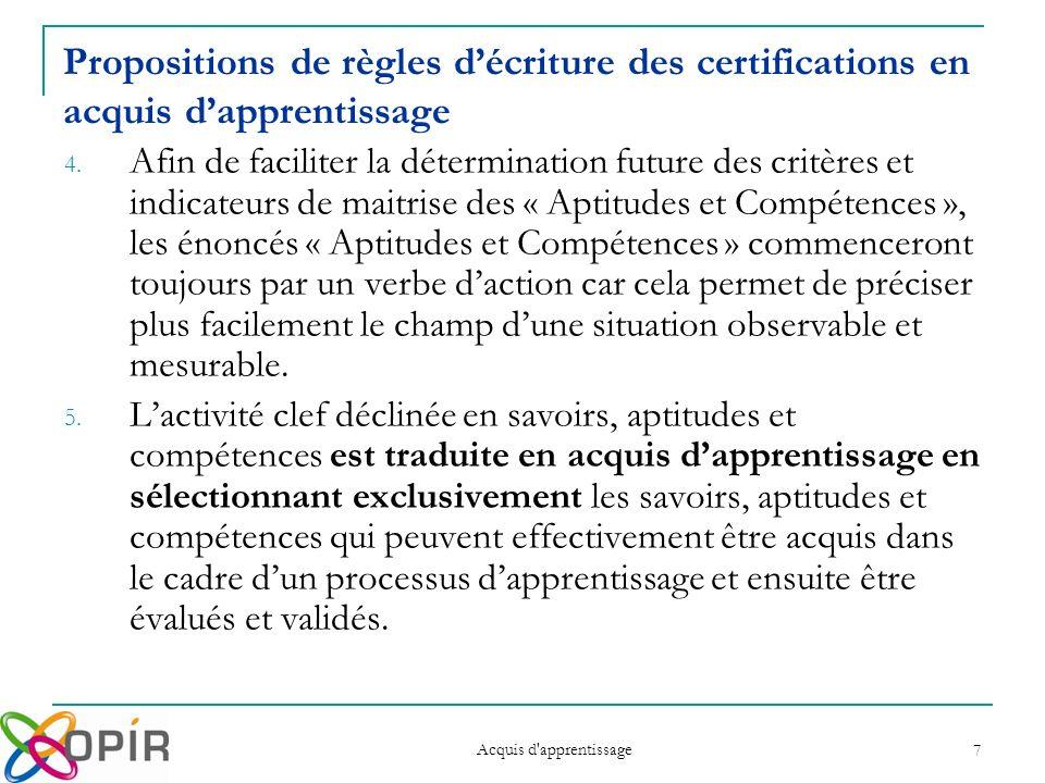 Acquis d apprentissage 7 Propositions de règles décriture des certifications en acquis dapprentissage 4.