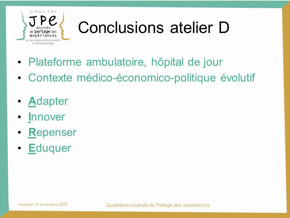 Conclusions atelier D Plateforme ambulatoire, hôpital de jour Contexte médico-économico-politique évolutif Adapter Innover Repenser Eduquer Vendredi 1