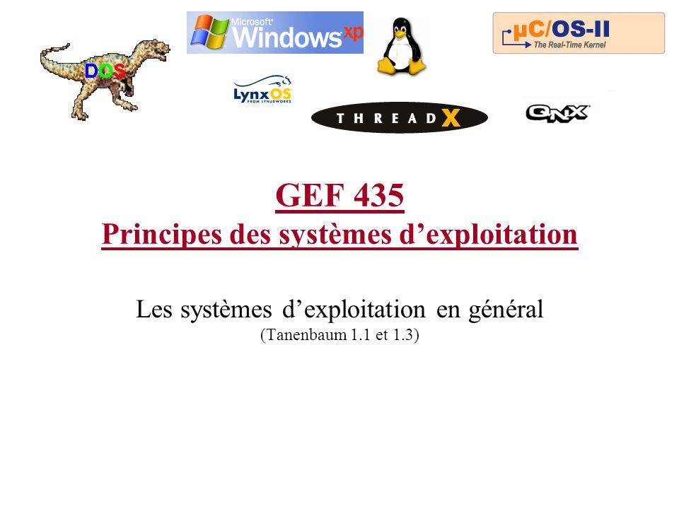 GEF 435 Principes des systèmes dexploitation Les systèmes dexploitation en général (Tanenbaum 1.1 et 1.3)