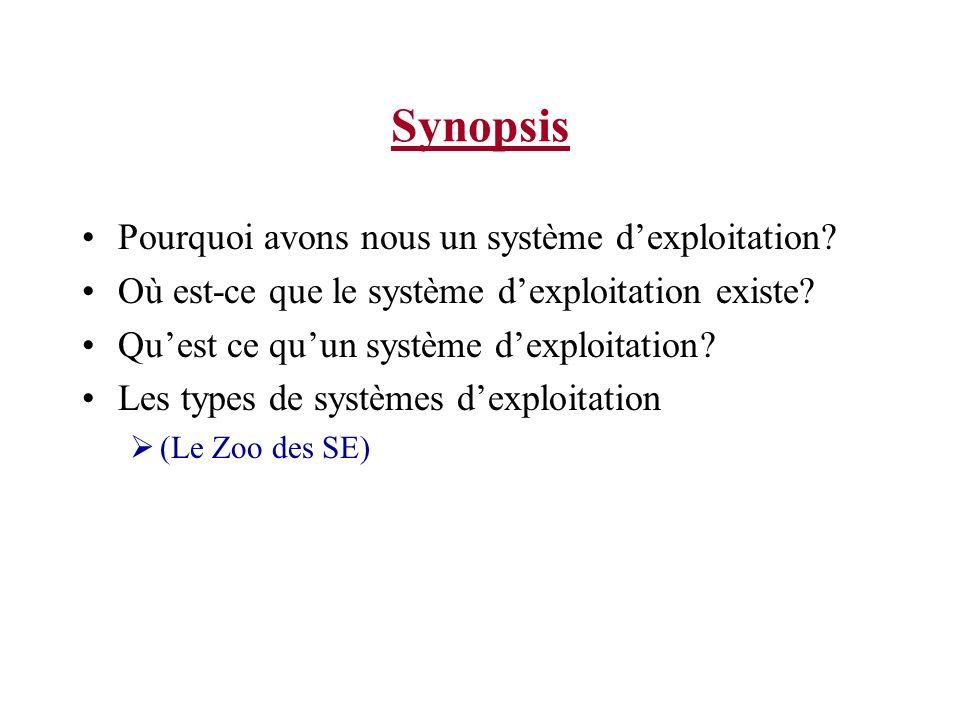 Synopsis Pourquoi avons nous un système dexploitation.