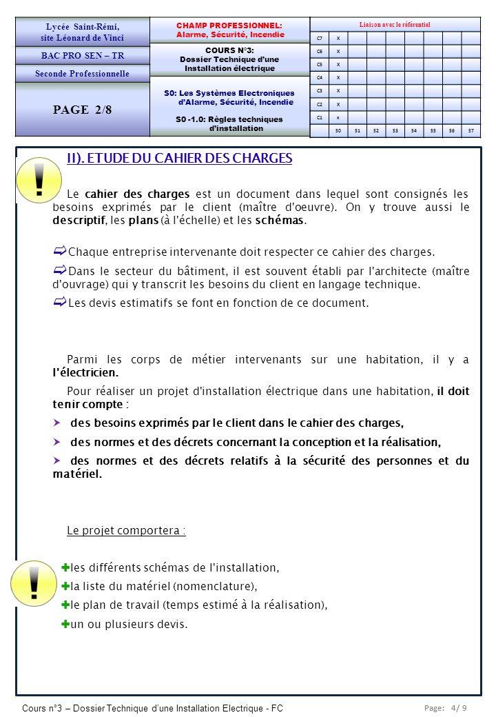 Page: 4/ 9 Cours n°3 – Dossier Technique dune Installation Electrique - FC Liaison avec le référentiel C7X C6X C5X C4X C3X C2X C1x S0S1S2S3S4S5S6S7 CH