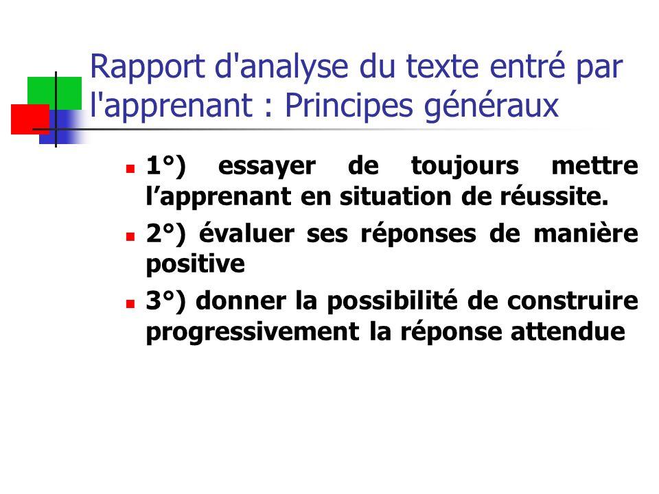 Rapport d'analyse du texte entré par l'apprenant : Principes généraux 1°) essayer de toujours mettre lapprenant en situation de réussite. 2°) évaluer