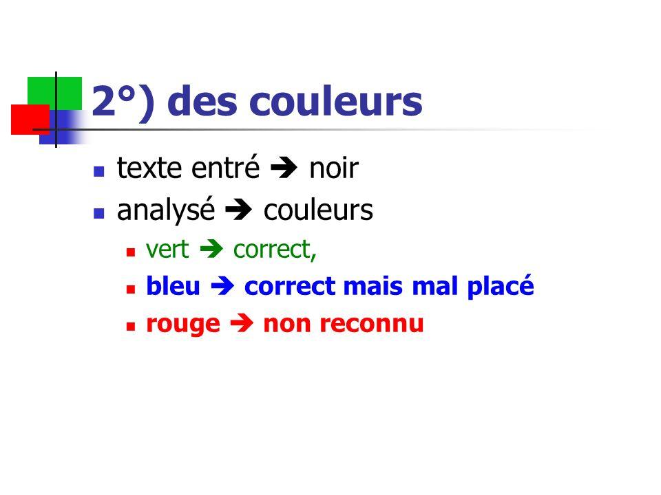 2°) des couleurs texte entré noir analysé couleurs vert correct, bleu correct mais mal placé rouge non reconnu