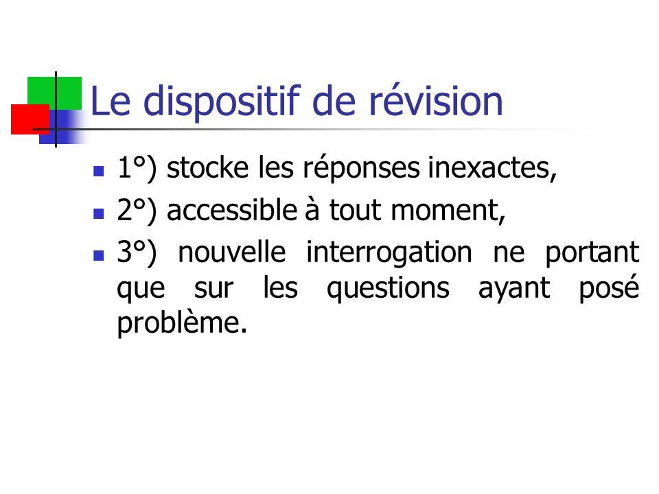 Le dispositif de révision 1°) stocke les réponses inexactes, 2°) accessible à tout moment, 3°) nouvelle interrogation ne portant que sur les questions