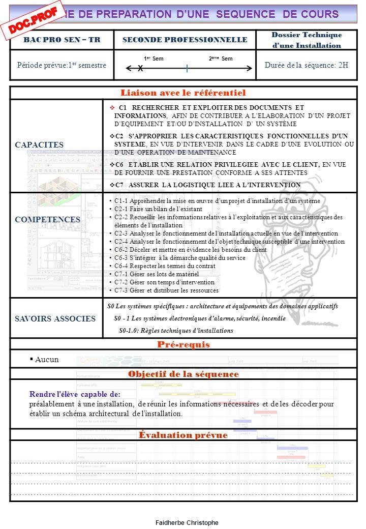 Seconde Bac Professionnel S.E.N ………………………………..……… M.FAIDHERBE, Professeur au Lycée Privé Saint Rémi Pôle professionnel Léonard de Vinci Liaison avec le référentiel C7X C6X C5 C4 C3 C2X C1x S0S1S2S3S4S5S6S7 CHAMP PROFESSIONNEL: Alarme, Sécurité, Incendie COURS N°3: Dossier Technique dune Installation électrique S0: Les Systèmes Electroniques dAlarme, Sécurité, Incendie S0 -1.0: Règles techniques dinstallation Lycée Saint-Rémi, site Léonard de Vinci BAC PRO SEN – TR Seconde Professionnelle Lieu dActivité: Classe Plan du Cours I)INTRODUCTION II)ETUDE DU CAHIER DES CHARGES III)LES DIFFERENTS DOCUMENTS A) Les Schémas électriques B) Le Schéma architectural C) Le descriptif IV)ANALYSE FONCTIONNELLE DUNE INSTALLATION SYNTHESE Lycée Saint-Rémi, site Léonard de Vinci CHAMP PROFESSIONNEL: Alarme, Sécurité, Incendie Liaison avec le référentiel C7 C6 BAC PRO SEN – TR COURS N°3: Dossier Technique dune Installation électrique C5 C4 Seconde Professionnelle S0: Les Systèmes Electroniques dAlarme, Sécurité, Incendie S0 -1.0: Règles techniques dinstallation C3 C2 Lieu dActivité: Classe C1 S0S1S2S3S4S5S6S7