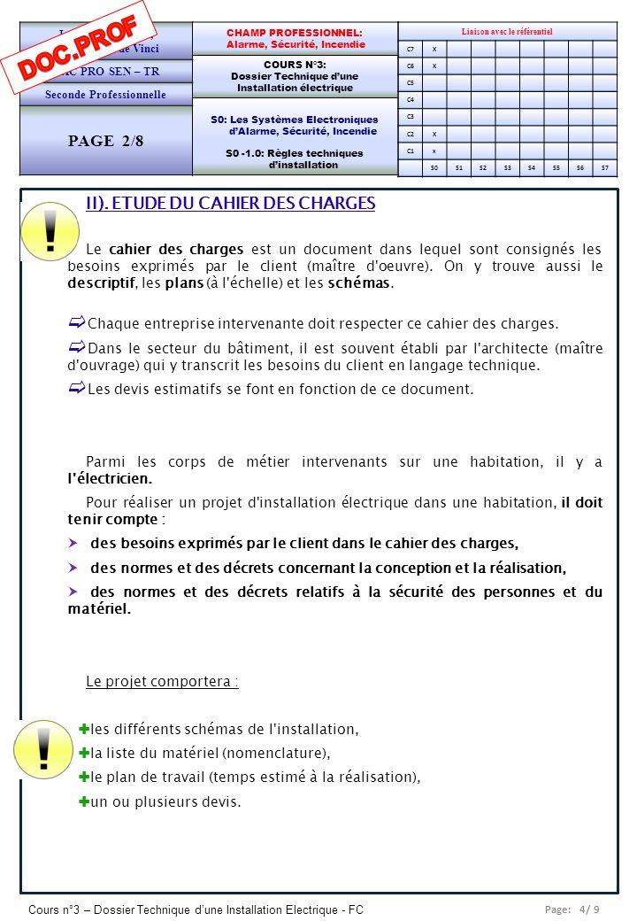 Page: 5/ 9 Cours n°3 – Dossier Technique dune Installation Electrique - FC Liaison avec le référentiel C7X C6X C5 C4 C3 C2X C1x S0S1S2S3S4S5S6S7 CHAMP PROFESSIONNEL: Alarme, Sécurité, Incendie COURS N°3: Dossier Technique dune Installation électrique S0: Les Systèmes Electroniques dAlarme, Sécurité, Incendie S0 -1.0: Règles techniques dinstallation Lycée Saint-Rémi, site Léonard de Vinci BAC PRO SEN – TR Seconde Professionnelle PAGE 3/8 III.