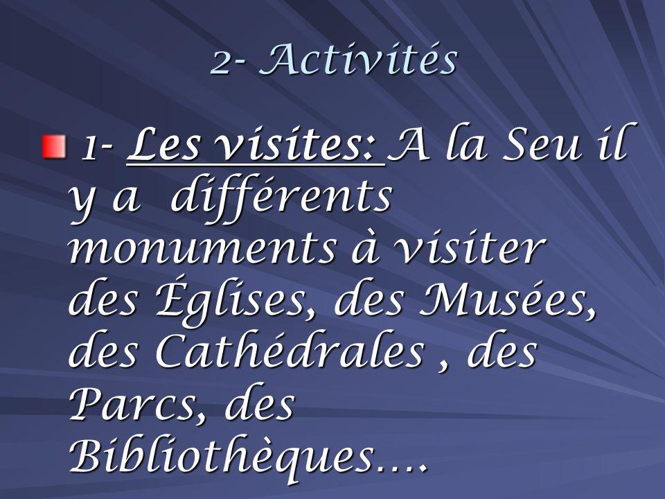 2- Activités 1- Les visites: A la Seu il y a différents monuments à visiter des Églises, des Musées, des Cathédrales, des Parcs, des Bibliothèques….
