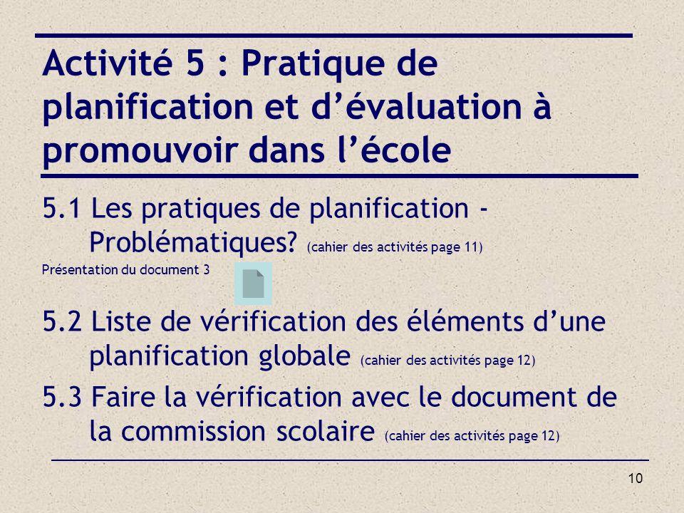 10 Activité 5 : Pratique de planification et dévaluation à promouvoir dans lécole 5.1 Les pratiques de planification - Problématiques? (cahier des act