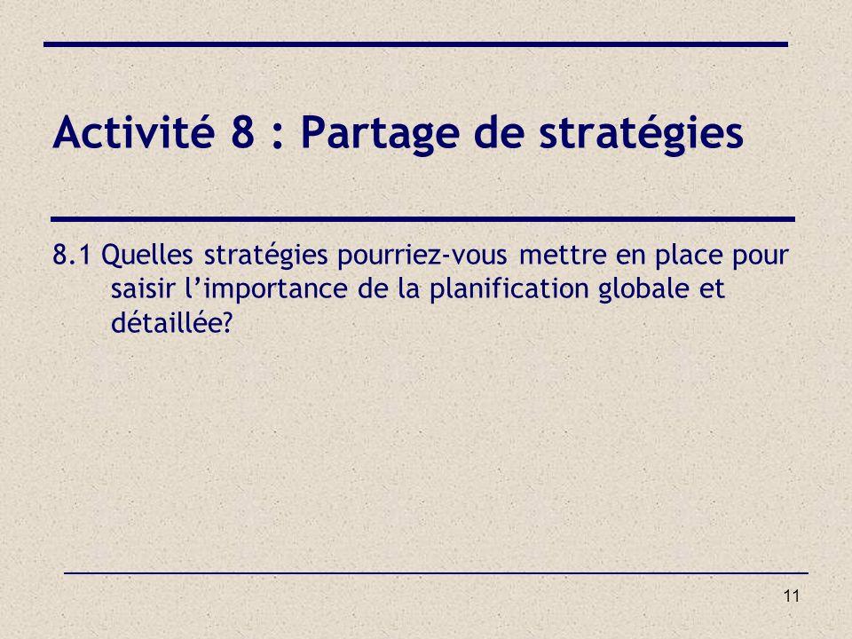 11 Activité 8 : Partage de stratégies 8.1 Quelles stratégies pourriez-vous mettre en place pour saisir limportance de la planification globale et déta