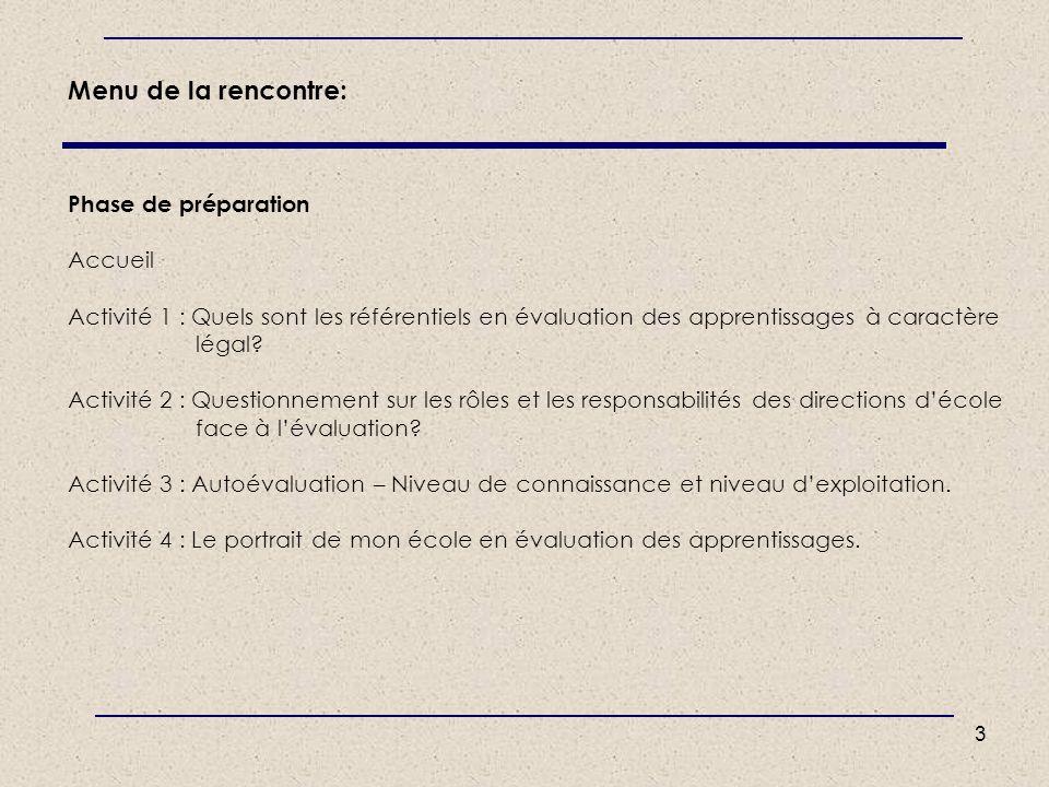 3 Menu de la rencontre: Phase de préparation Accueil Activité 1 : Quels sont les référentiels en évaluation des apprentissages à caractère légal? Acti