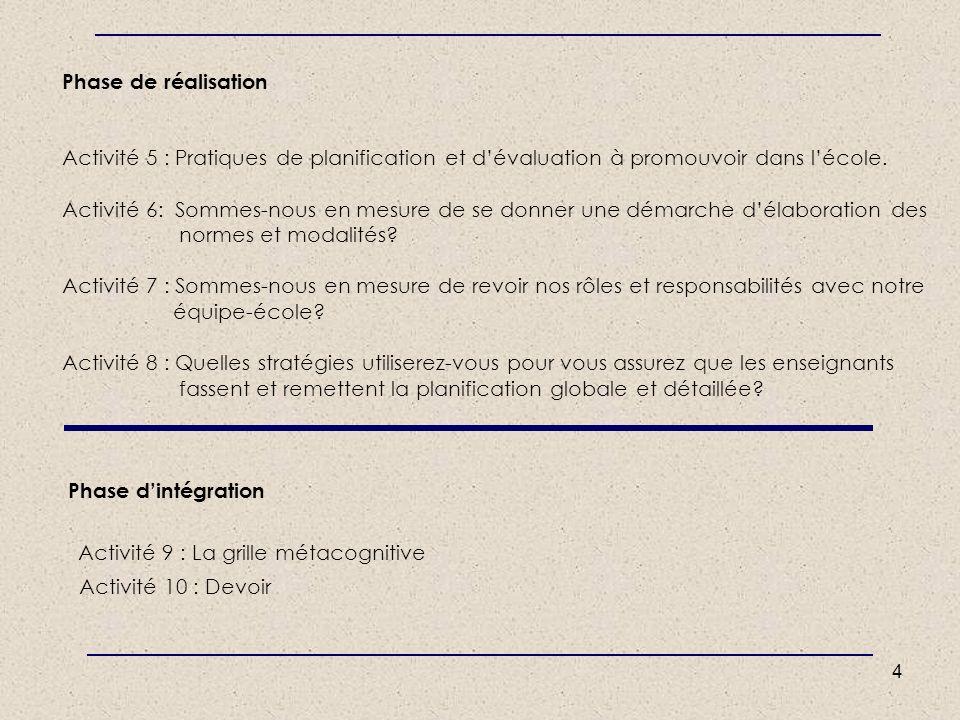 4 Phase de réalisation Activité 5 : Pratiques de planification et dévaluation à promouvoir dans lécole. Activité 6: Sommes-nous en mesure de se donner